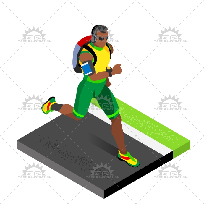 Marathon Runners Gym Working Out Isometric Vector Image