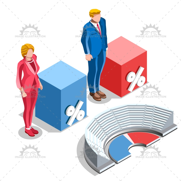 Election Infographic Congress Us Vector Isometric People