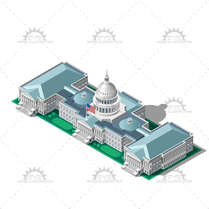 Election Infographic Parliament Vector Isometric Building