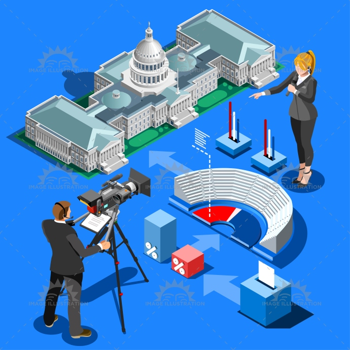 - Isometric Vector Presidential Image Infographic Building Illustration Election