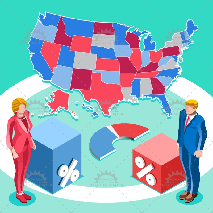 Election Infographic Us President Vector Isometric People