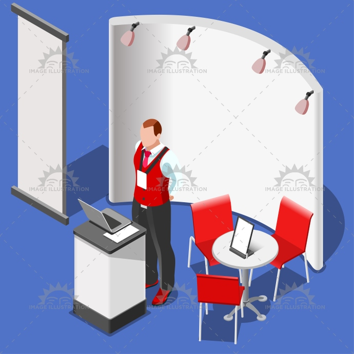 3D Exhibition Booth Stand People Isometric Vector