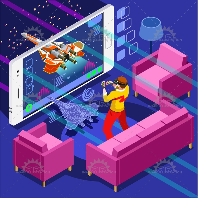 Virtual 3d Home Design Game: Computer Game Video Gaming Isometric Person Vector