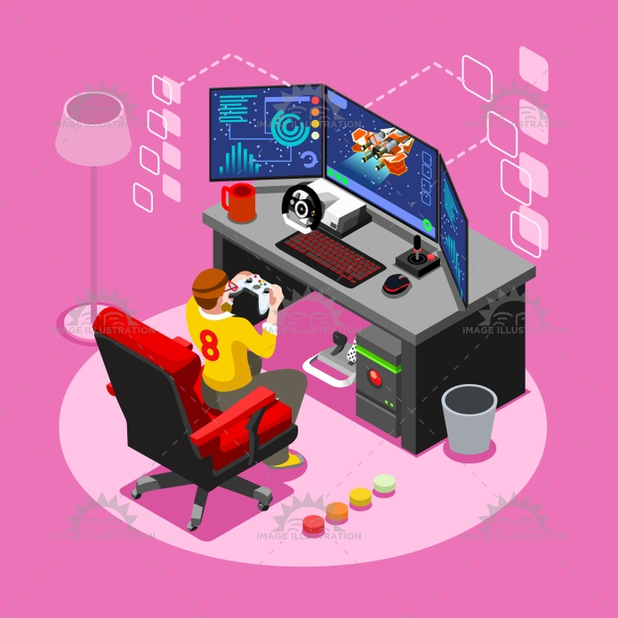 Computer Video Game Isometric Gaming People Vector