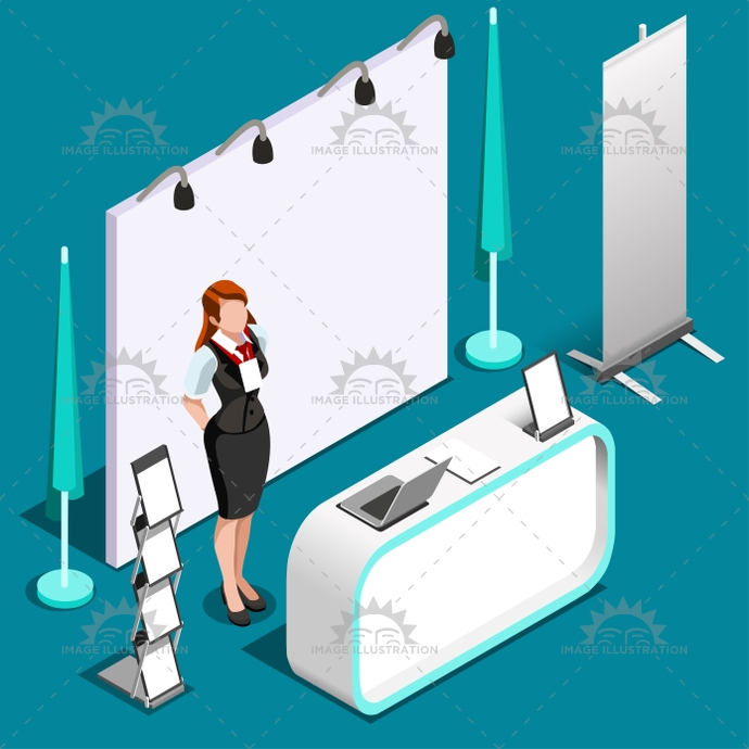 Exhibition Stand Icon : Exhibition d booth stand people isometric vector