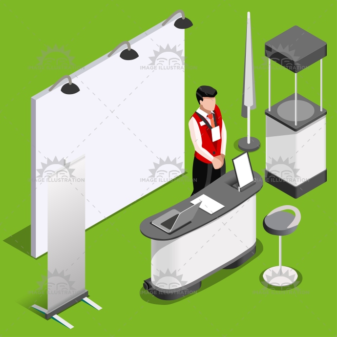 Exhibition Booth 3d Stand People Isometric Vector