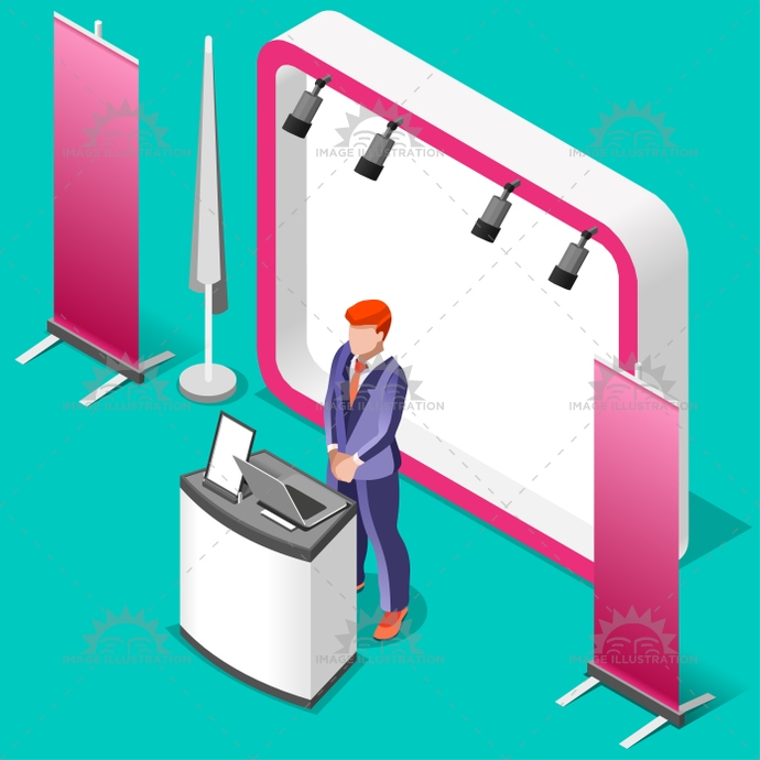 Exhibition Stand Design Illustrator : Exhibition booth stand d isometric people vector