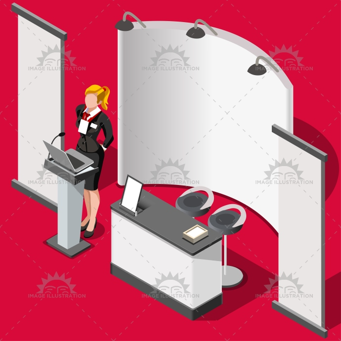 Exhibition Stall Vector : Exhibition booth stand d people isometric vector