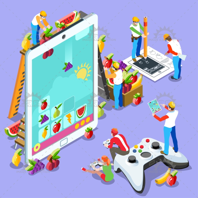 People Computer Video Game Gaming Isometric Vector Illustration