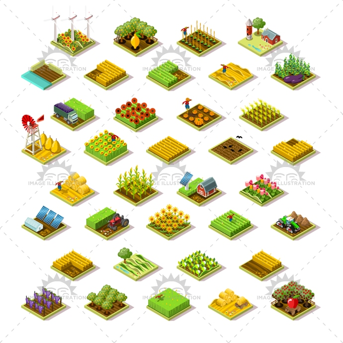 Isometric Building Farm 3D Icon Collection Vector Illustration