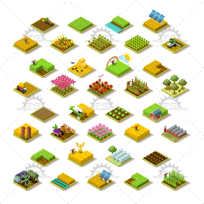 Isometric farm icon. 3D building icon collection. Vector illustration.