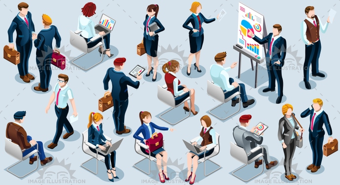 Isometric People Audience Icon 3D Set Vector Illustration