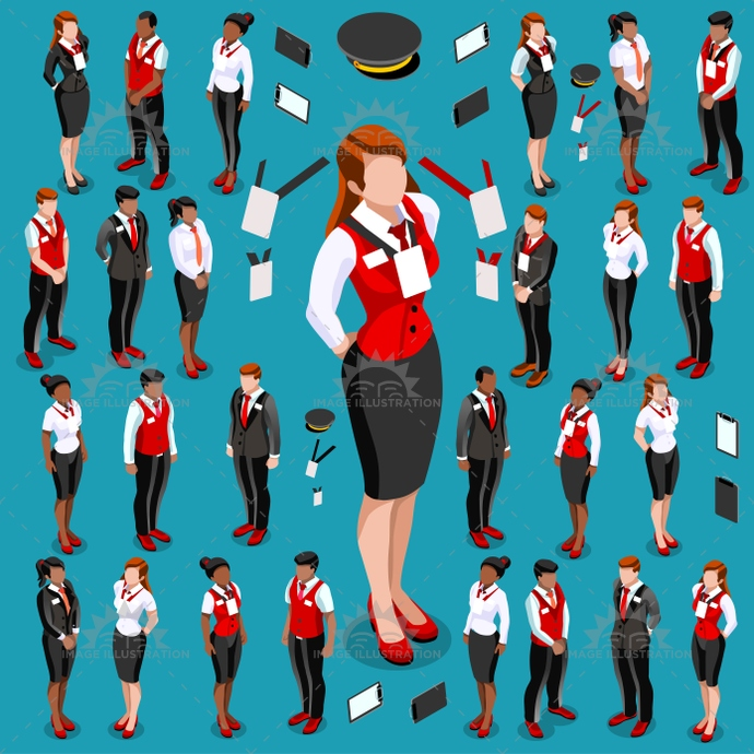 Isometric People isometric character collection. Quality people vector illustrations.