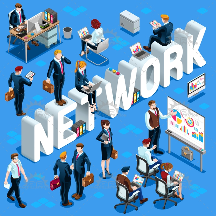 Isometric People Network Icon 3D Set Vector Illustration