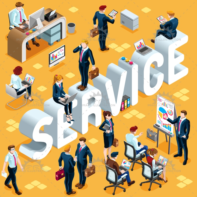 Isometric People Service Icon 3D Set Vector Illustration