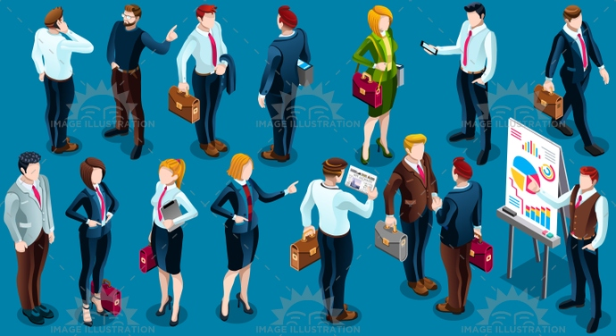 Isometric People Standing Staff 3D Icon Set Vector Illustration
