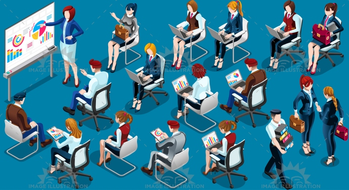 Isometric People Training Room Icon 3D Set Vector Illustration