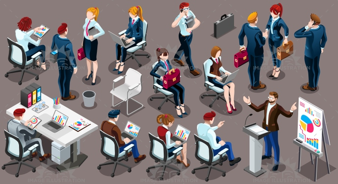 Isometric People Working Staff 3D Icon Set Vector Illustration