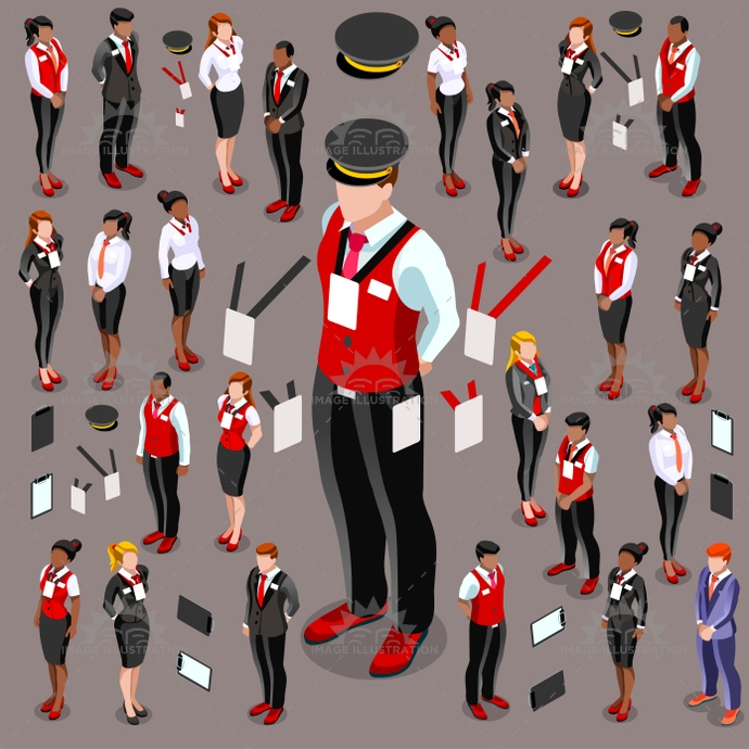 3d, attendant, boss, businesswoman, career, catering, chauffeur, collection, creative, crowd, design, employee, female, financial, group, hostess, hotel, human, icon, illustration, infographic, isolated, isometric, male, man, meeting, person, professional, reception, receptionist, service, set, staff, standing, steward, stewardess, suit, team, vector, waiter, waitress, woman, work, worker, young