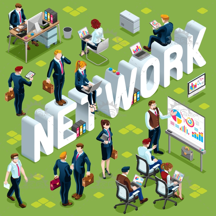 Network Isometric People Icon 3D Set Vector Illustration