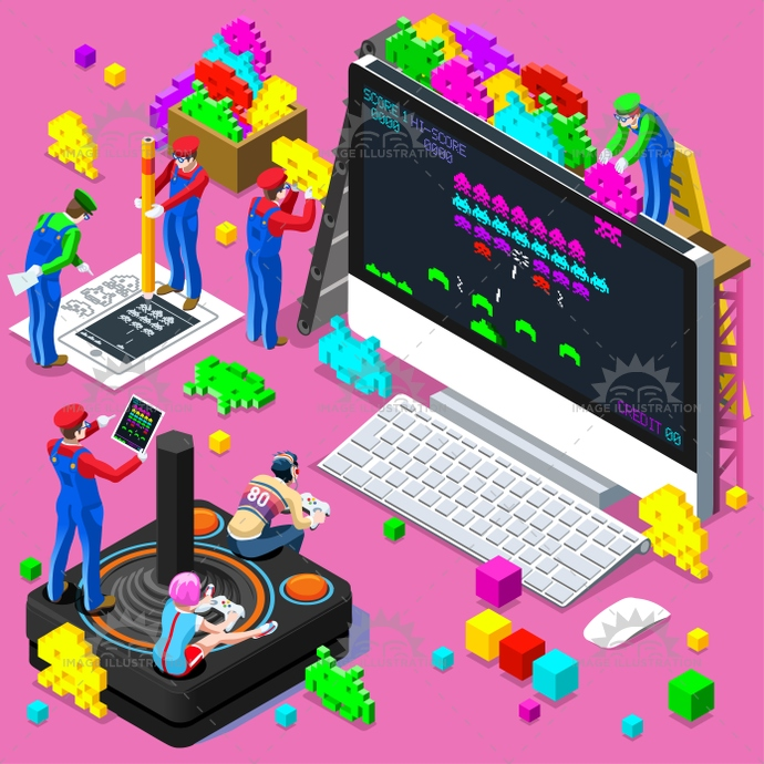 Video Retro Game Gaming Isometric People Vector Illustration