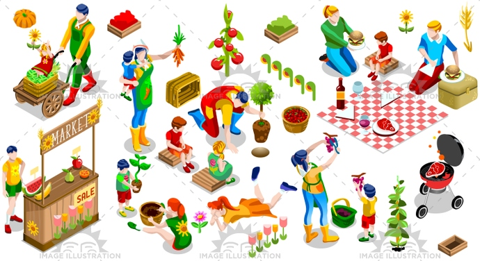 3d, backyard, barbecue, barbeque, bbq, child, children, collection, country, couple, design, display, family, farm, farmer, farming, field, flower, fruit, garden, gardener, gardening, genealogical, girl, graphic, grocery, happy, icon, illustration, isolated, isometric, kid, man, market, outdoor, party, people, picnic, planting, produce, set, sign, stand, store, tree, vector, vegetable, white, woman