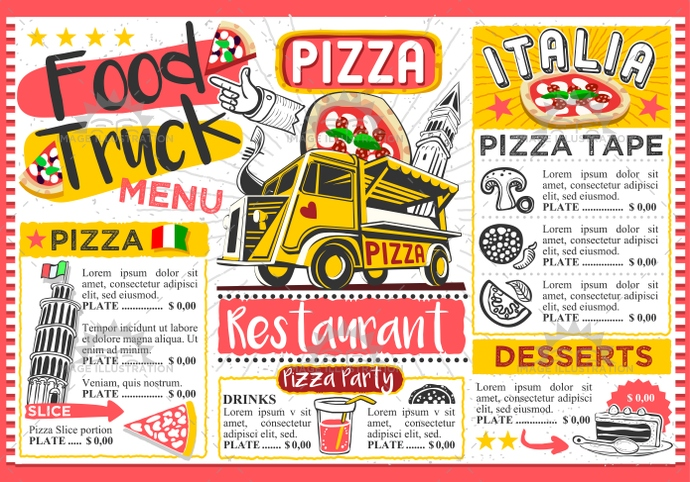ads, advertise, away, board, brochure, car, card, chef, cooking, cover, creative, delivery, design, doodle, drawing, drawn, eatery, fast, festival, flier, flyer, food, graphic, hand, hipster, icon, illustration, invite, italian, italy, label, layout, leaflet, logo, menu, party, pasta, pizza, placemat, poster, restaurant, retro, street, summer, take, template, truck, van, vector, vintage