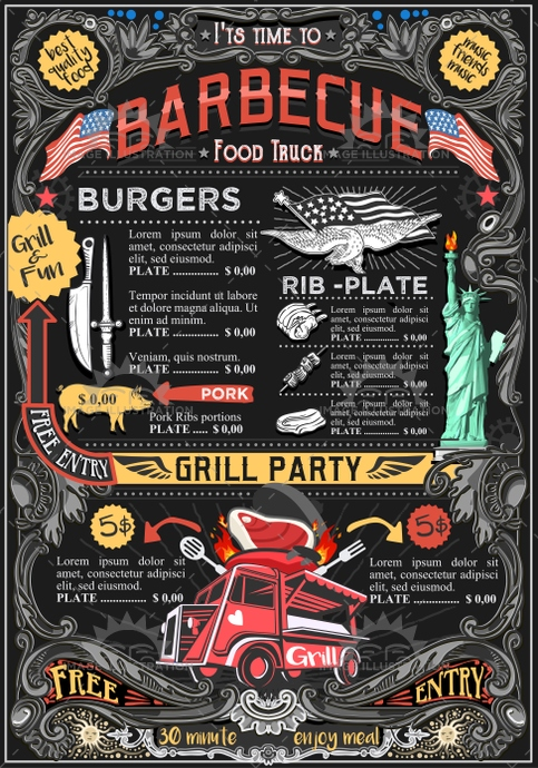 ads, advertise, american, away, barbeque, bbq, board, brochure, car, chef, cooking, cover, creative, delivery, design, doodle, drawing, drawn, eatery, fast, festival, flier, flyer, food, graphic, grill, hand, hipster, icon, illustration, invite, label, layout, leaflet, logo, menu, party, placemat, poster, restaurant, retro, street, summer, take, template, truck, US, van, vector, vintage