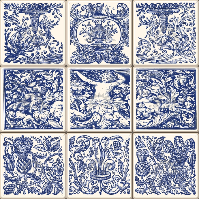 Lisbon azulejos nine blue traditional oriental ceramic tiles in vintage ornament style