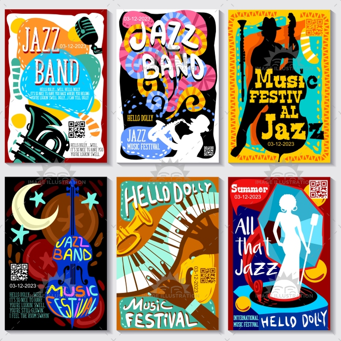 Jazz music festival vector poster colorful and modern template collection