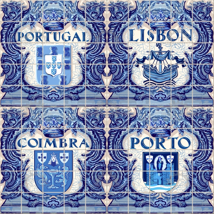 Azulejos Lisbon Portugal Porto Coimbra, four ceramic tiles as vector template for souvenir
