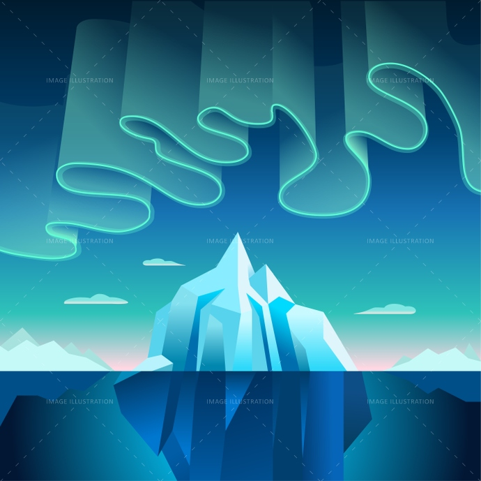 Aurora Borealis and Iceberg Vector Illustration
