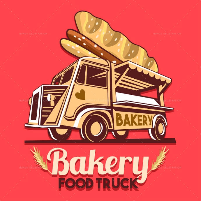 Food Truck Bakery Bread Fast Delivery Service Vector Logo