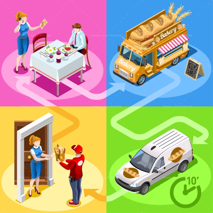 3d, ads, advertise, away, bakery, bread, car, client, customer, delivery, distribution, door, family, fast, flyer, food, girl, guy, home, icon, infographic, isolated, isometric, kit, leaflet, magazine, man, meal, online, order, people, person, placard, poster, process, ready, service, shipping, site, standing, steps, supermarket, take, takeaway, truck, van, vector, web, white, worker