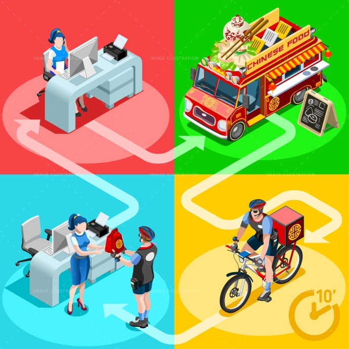 Food Truck Chinese Restaurant Home Delivery Vector Isometric