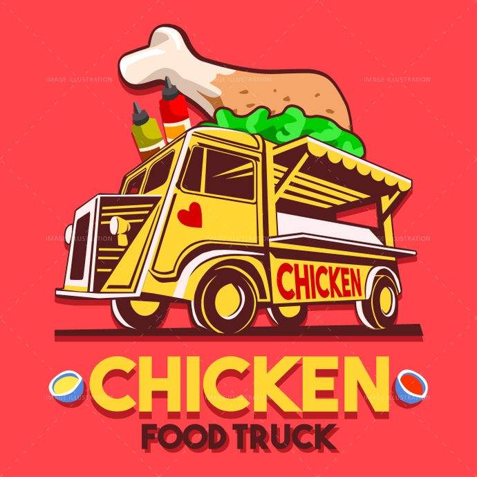 Food Truck Crispy Fried Chicken Wings Fast Delivery Service Vect