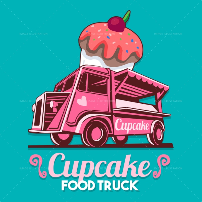 Food Truck Cupcake Birthday Cake Bakery Shop Fast Delivery Servi