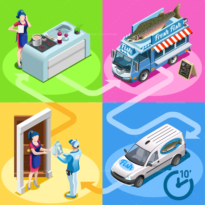 3d, ads, advertise, away, car, client, customer, delivery, distribution, door, family, fast, fish, fishmonger, flyer, food, girl, guy, home, icon, infographic, isolated, isometric, kit, leaflet, magazine, man, market, meal, online, order, people, person, placard, poster, process, ready, service, shipping, shop, site, standing, steps, take, truck, van, vector, web, white, worker