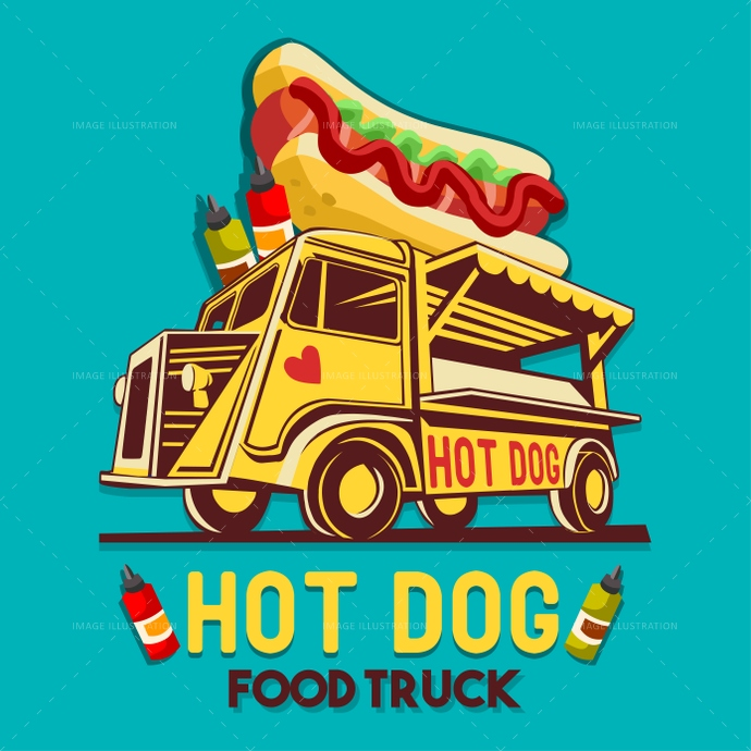 Food Truck Hot Dog Fast Delivery Service Vector Logo