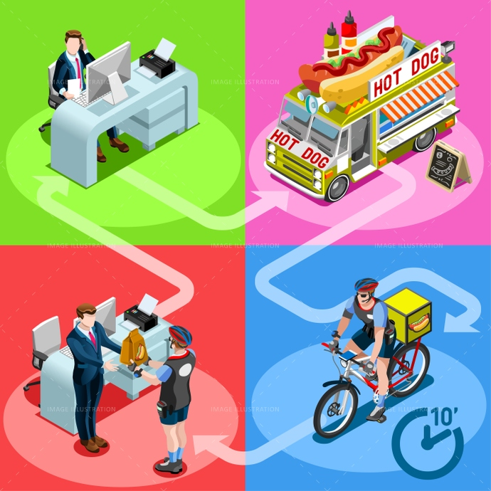 Food Truck Hot Dog Home Delivery Vector Isometric People