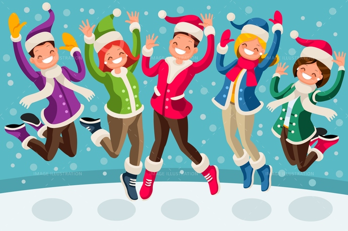 Happy Winter Vector Isometric Cartoon People Family