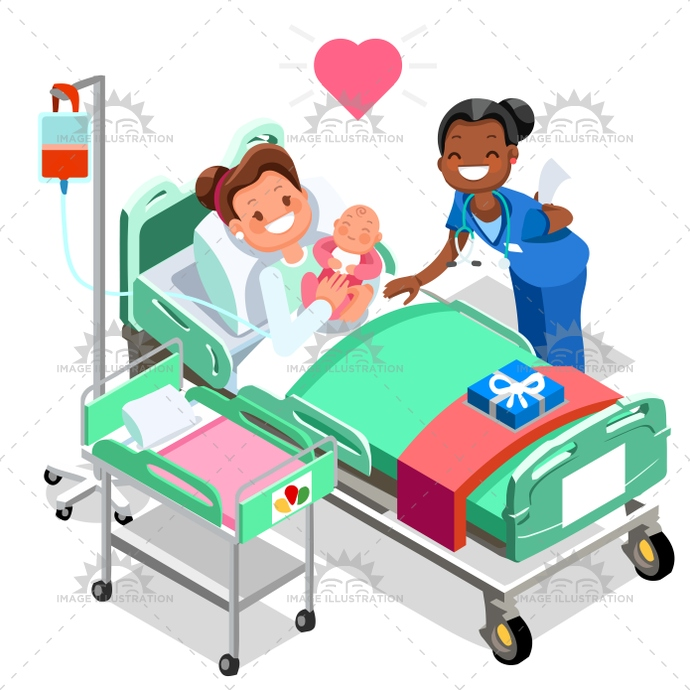 Nurse With Baby Doctor Or Nurse Patient Isometric People