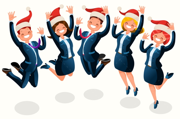 Christmas party of business people cartoon with santa hat. This is a detailed vector illustration of isometric people. Clipart formats are availables.