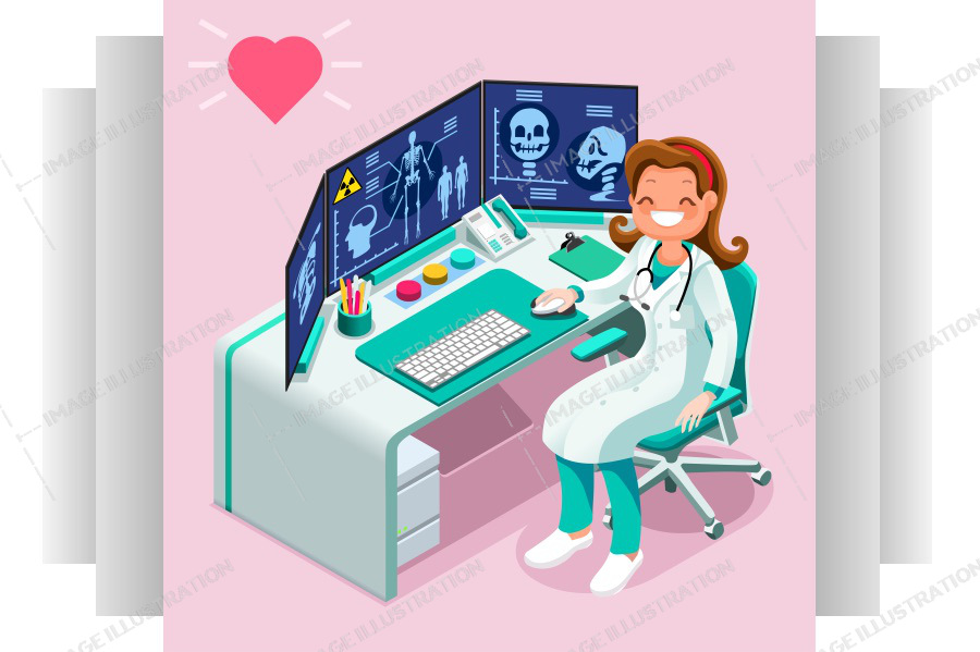 Radiology Icon Hospital Computer Healthcare Data Isometric People Cartoon