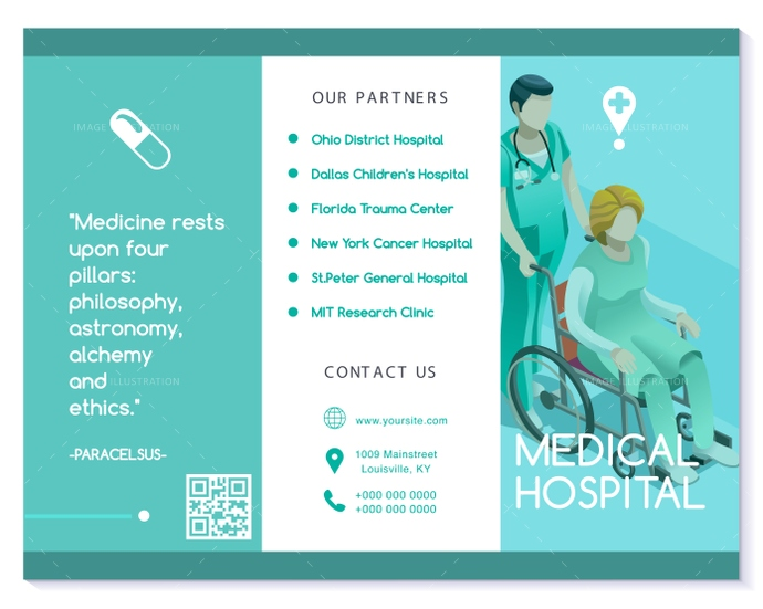 Vector Brochure Healthcare Turquoise Medical Clinic Template  Image