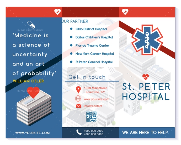 Vector hospital trifold brochure medical clinic blue for Hospital menu template