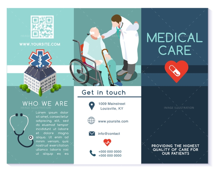 Vector Hospital Trifold Brochure Medical Clinic Template Layout