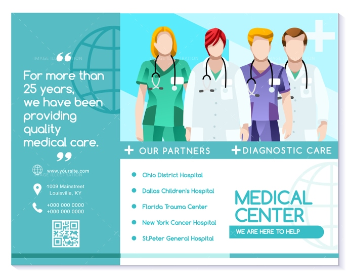 Vector Trifold Brochure Medical Clinic Hospital Blue