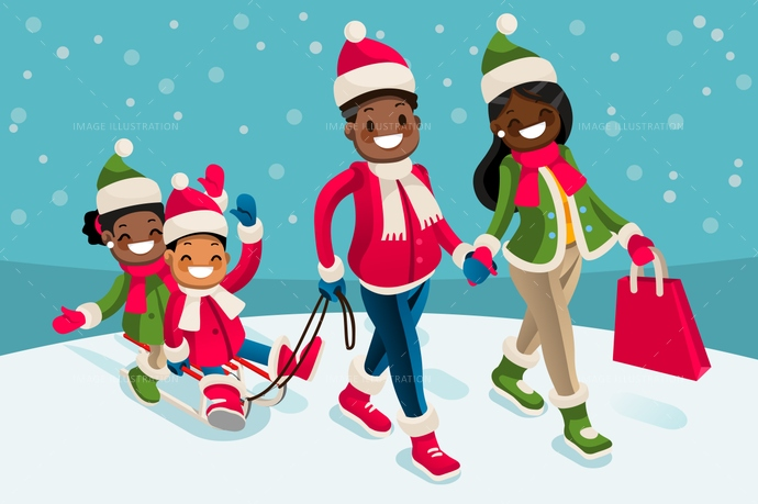 winter family vacations isometric people black cartoon character - Black Family Christmas Pictures