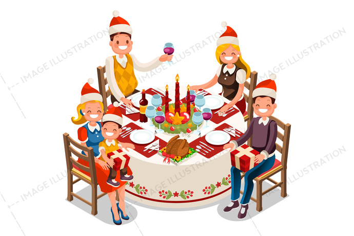 christmas dinner party vector illustration image illustration